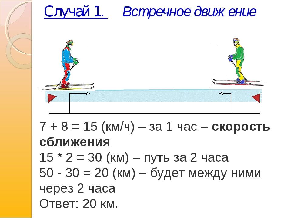 Случай 1. Встречное движение 7 + 8 = 15 (км/ч) – за 1 час –скорость сближени...