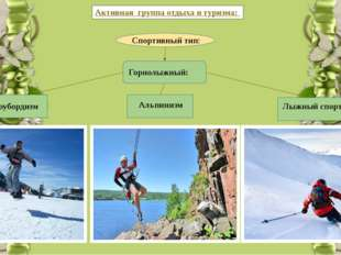 Активная группа отдыха и туризма: Спортивный тип: Горнолыжный: Альпинизм Сно