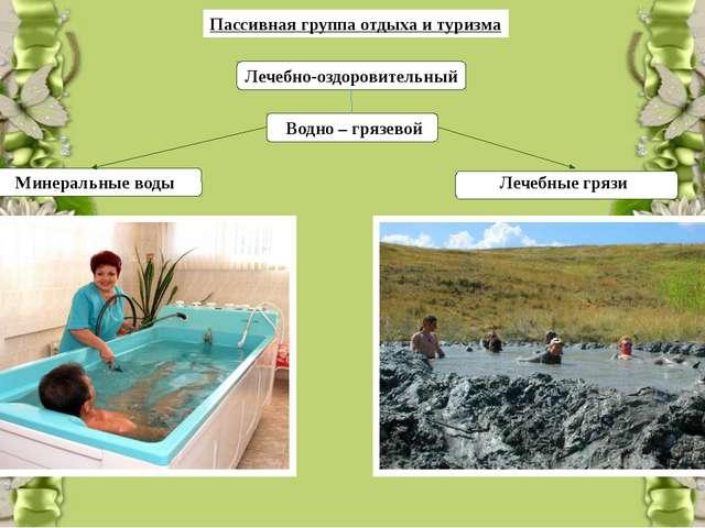 Пассивная группа отдыха и туризма Лечебно-оздоровительный Водно – грязевой М...