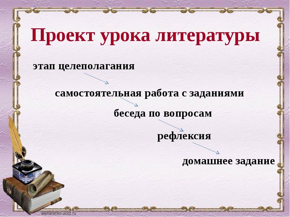 Проект урока литературы этап целеполагания самостоятельная работа с заданиями...