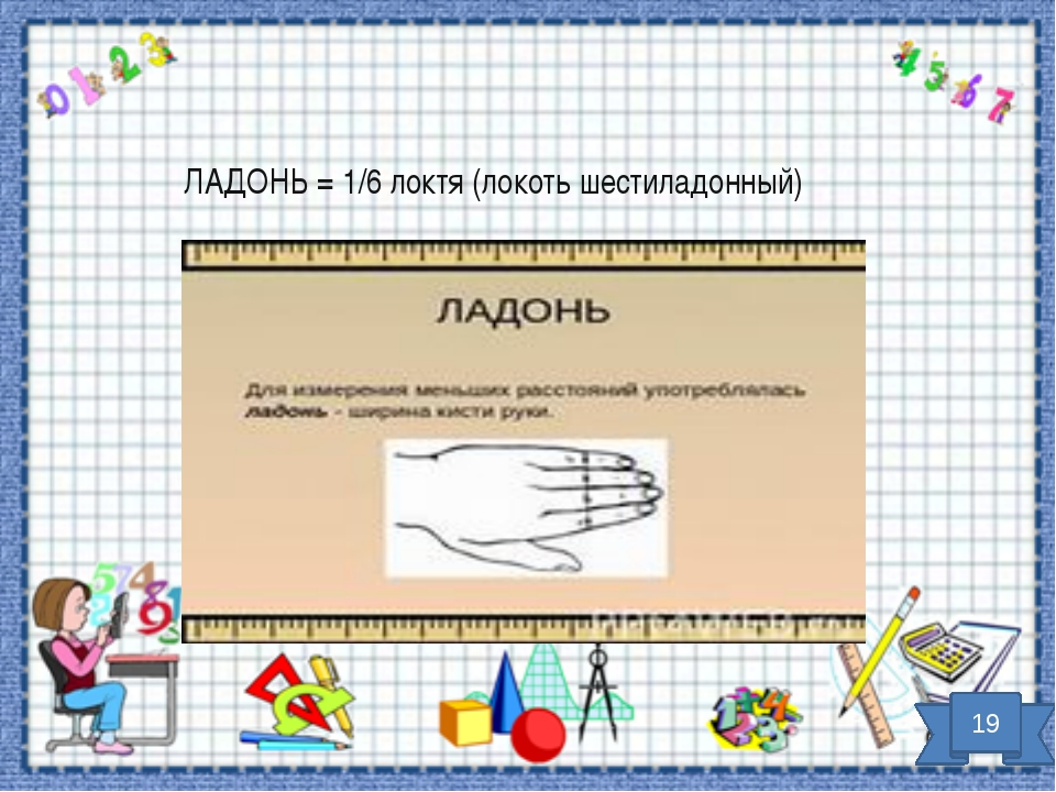 ЛАДОНЬ = 1/6 локтя (локоть шестиладонный) 19
