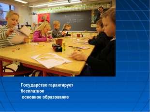 Государство гарантирует бесплатное основное образование