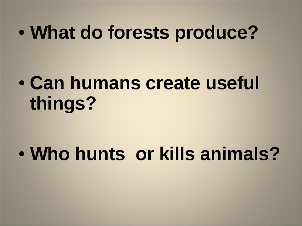 What do forests produce? Can humans create useful things? Who hunts or kills...