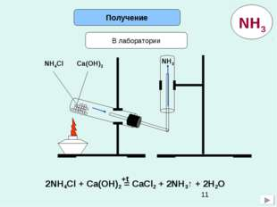 Получение В лаборатории NH4Cl Ca(OH)2 NH3