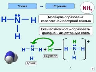 H Строение N H H •• Есть возможность образовать донорно – акцепторную связь М