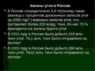 Запасы угля в России В России сосредоточено 5,5%(почему такая разница с про