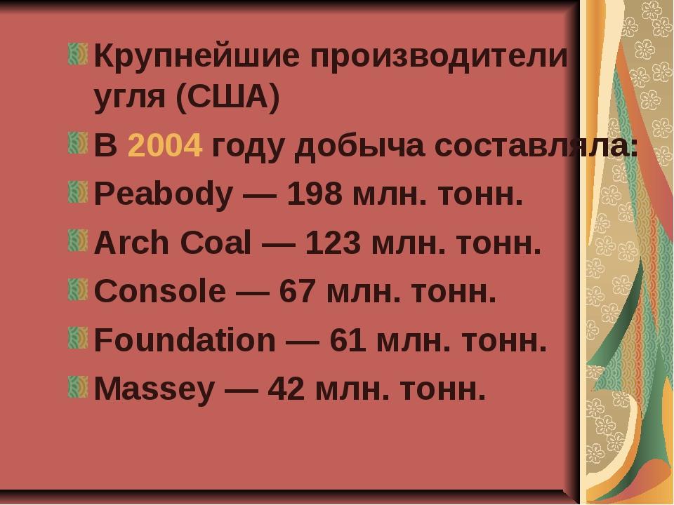 Крупнейшие производители угля (США) В 2004 году добыча составляла: Peabody —...
