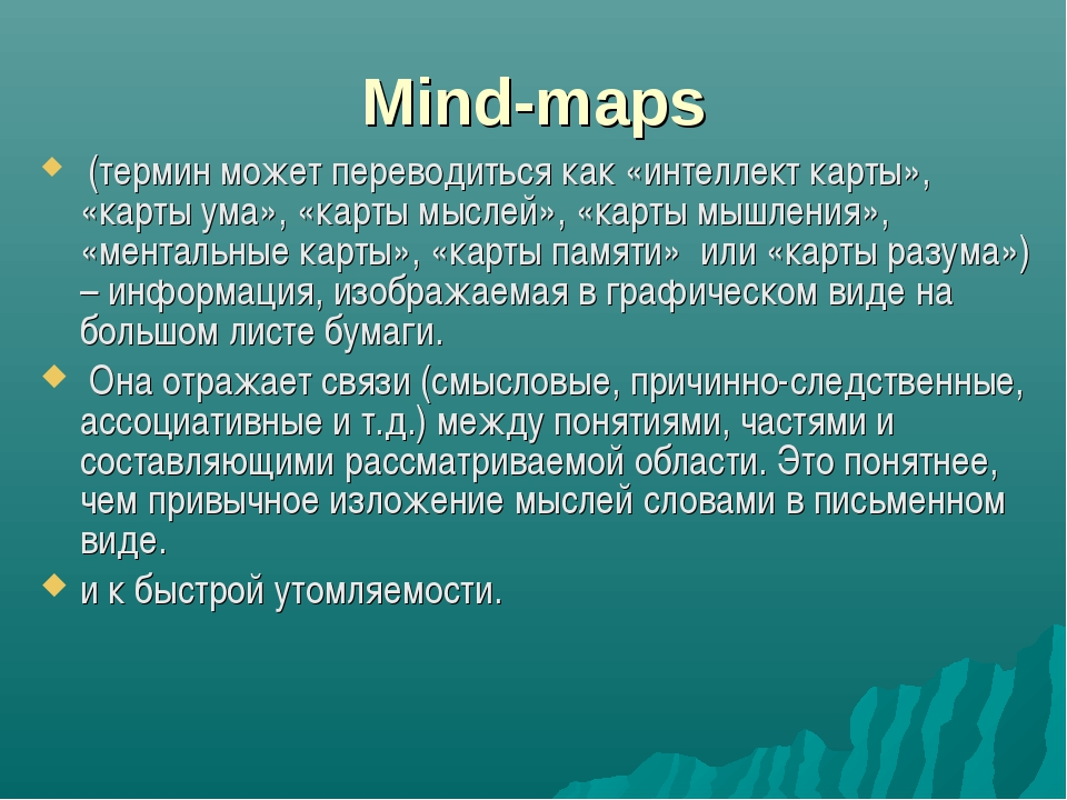 Mind-maps (термин может переводиться как «интеллект карты», «карты ума», «ка...