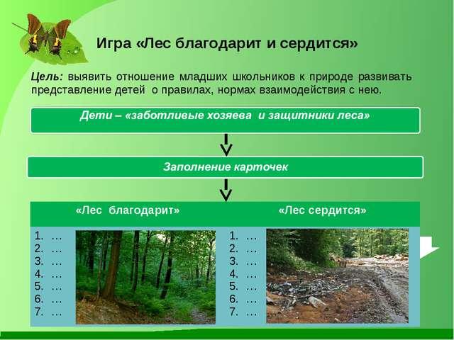 Игра «Лес благодарит и сердится» Цель: выявить отношение младших школьников к...