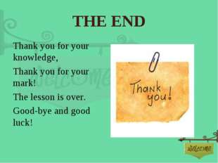 THE END Thank you for your knowledge, Thank you for your mark! The lesson is