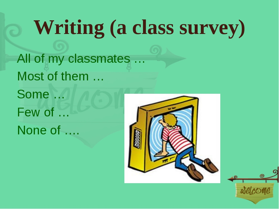 Writing (a class survey) All of my classmates … Most of them … Some … Few of...