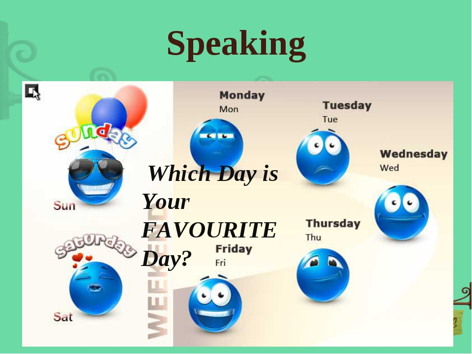 Speaking Which Day is Your FAVOURITE Day?