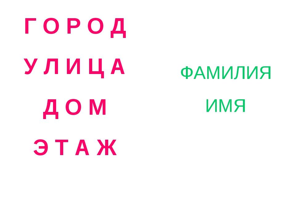Г О Р О Д У Л И Ц А Д О М Э Т А Ж ФАМИЛИЯ ИМЯ