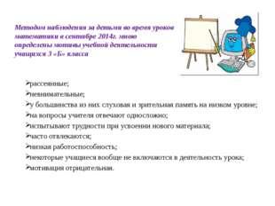 Методом наблюдения за детьми во время уроков математики в сентябре 2014г. мн