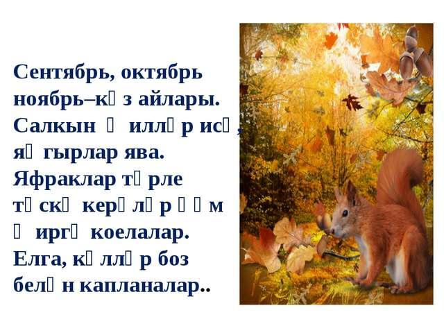 Сентябрь, октябрь ноябрь–көз айлары. Салкын җилләр исә, яңгырлар ява. Яфракл...