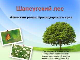 Абинский район Краснодарского края Презентация к выступлению «Нету краше Роди