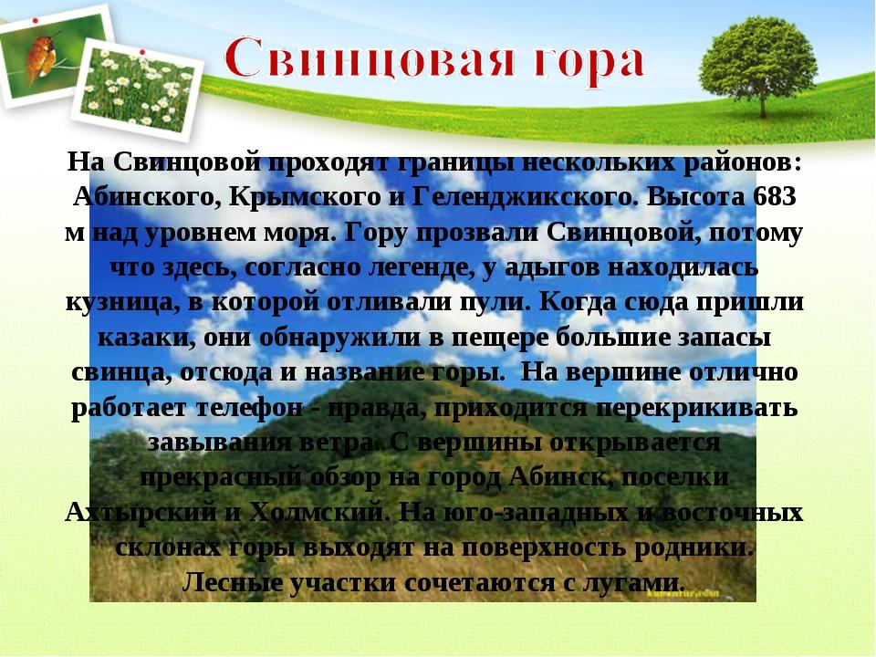 На Свинцовой проходят границы нескольких районов: Абинского, Крымского и Геле...