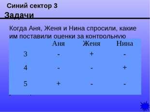 Синий сектор 3 Задачи Когда Аня, Женя и Нина спросили, какие им поставили оц