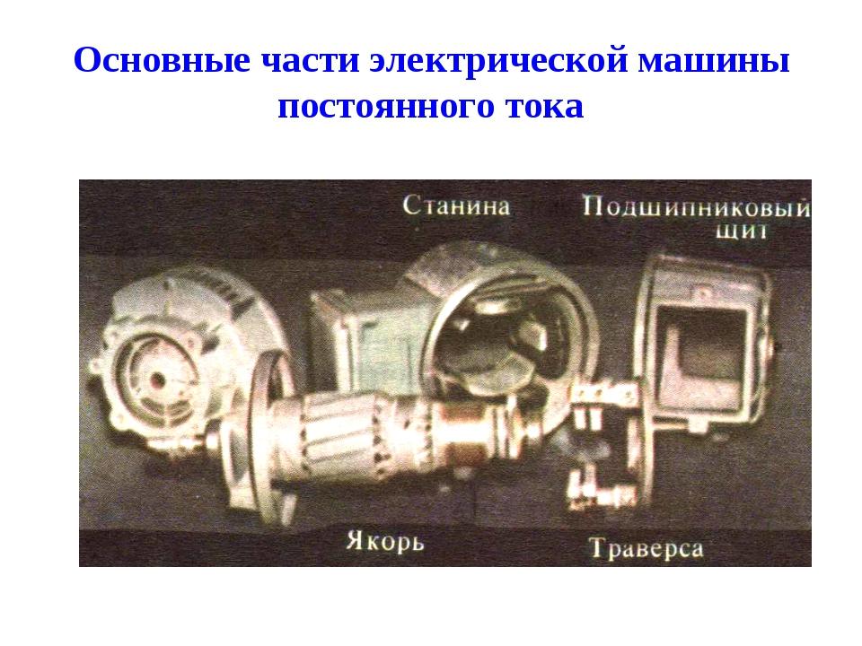 Основные части электрической машины постоянного тока