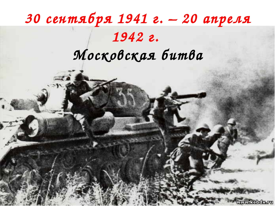 30 сентября 1941 г. – 20 апреля 1942 г. Московская битва