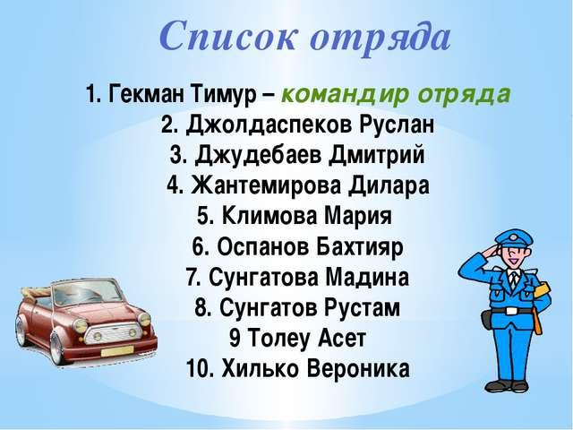 Список отряда 1. Гекман Тимур – командир отряда 2. Джолдаспеков Руслан 3. Джу...