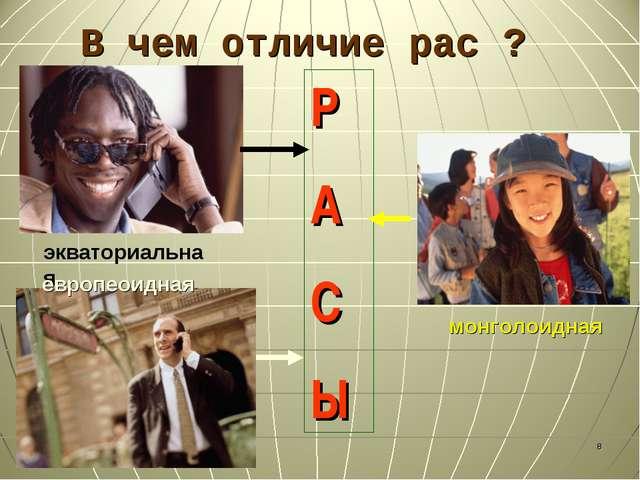 В чем отличие рас ? * экваториальная европеоидная монголоидная Р А С Ы