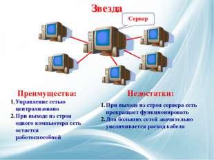 Сервер Управление сетью централизовано При выходе из строя одного компьютера