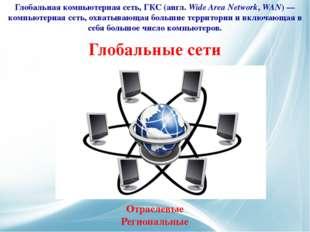 Глобальные сети Глобальная компьютерная сеть, ГКС (англ.Wide Area Network, W