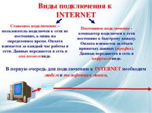 Сеансовое подключение – пользователь подключен к сети не постоянно, а лишь на