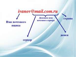 ivanov@mail.com.ru Доменное имя почтового сервера Имя почтового ящика домен с