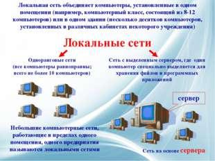 Локальные сети Небольшие компьютерные сети, работающие в пределах одного поме