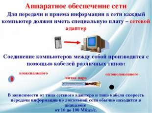 Для передачи и приема информации в сети каждый компьютер должен иметь специал
