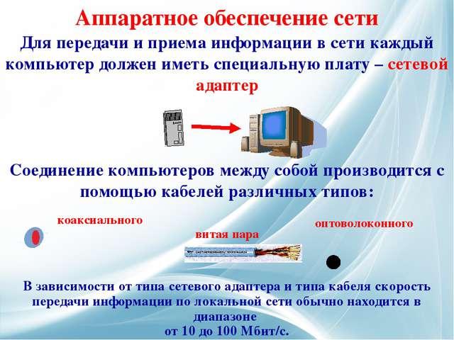 Для передачи и приема информации в сети каждый компьютер должен иметь специал...