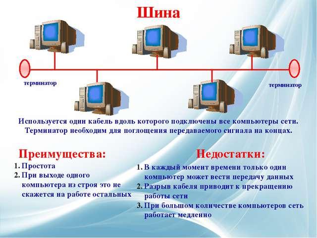 Используется один кабель вдоль которого подключены все компьютеры сети. Терм...