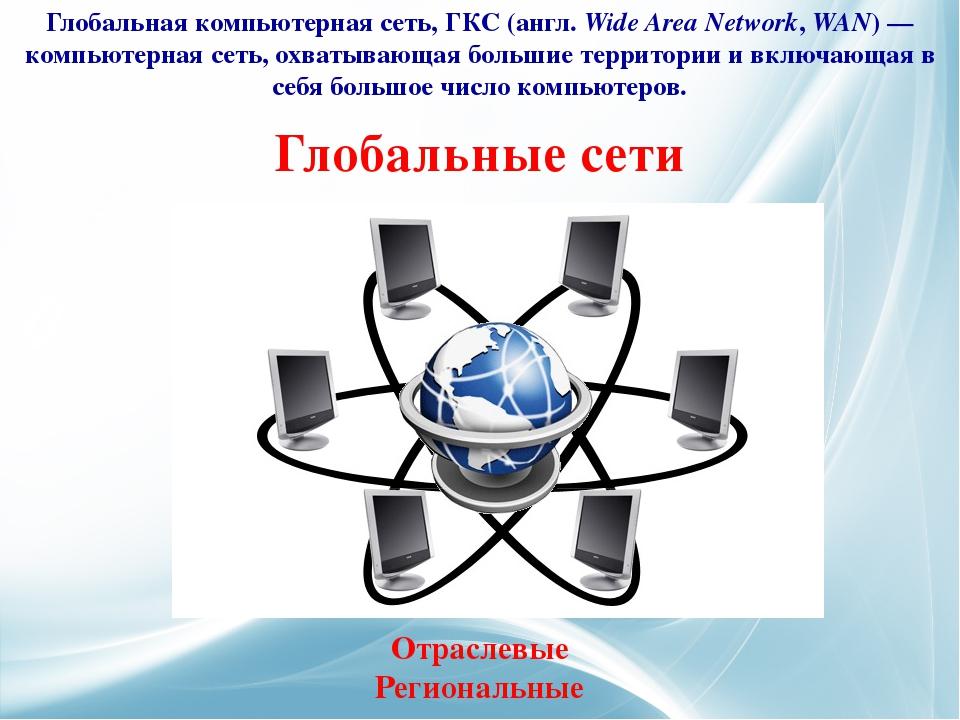 Глобальные сети Глобальная компьютерная сеть, ГКС (англ.Wide Area Network, W...