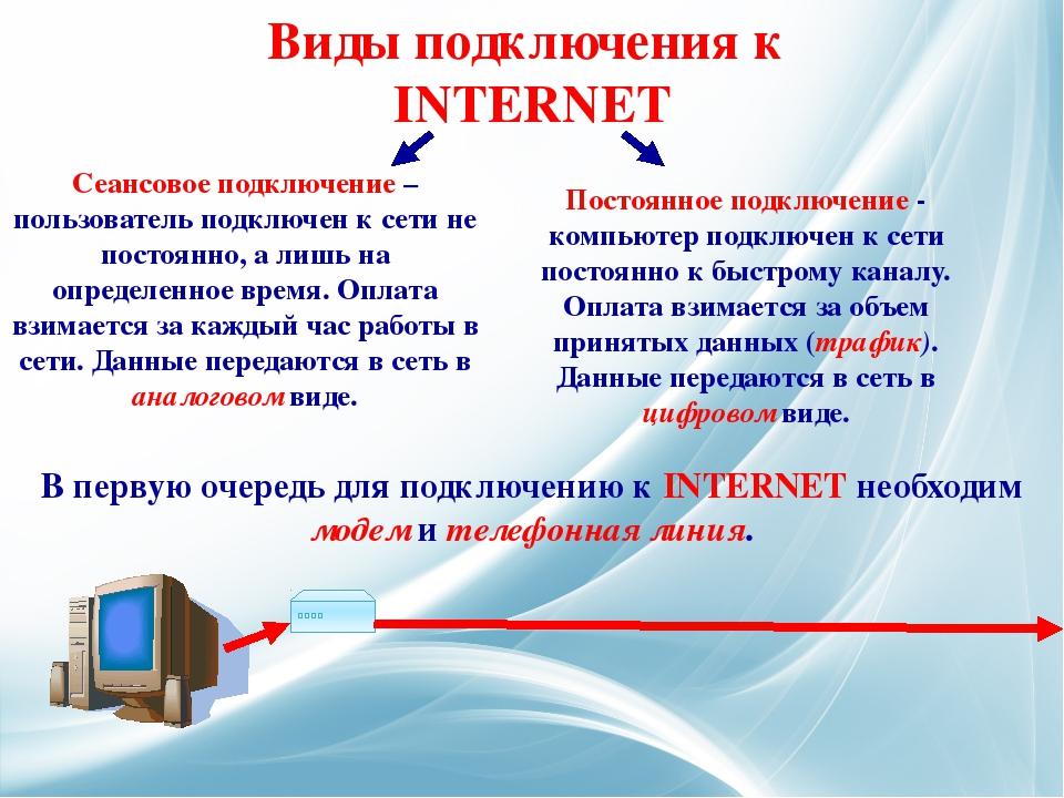 Сеансовое подключение – пользователь подключен к сети не постоянно, а лишь на...