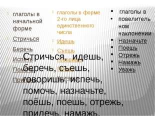 глаголы в начальной форме Стричься Беречь Испечь Помочь Прилечь глаголы в фор