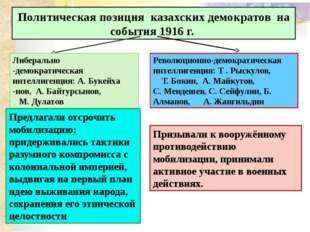 Политическая позиция казахских демократов на события 1916 г. Либерально -дем
