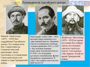 Руководители тургайского центра Иманов Амангельды (1873 – 1919) был сардарбе