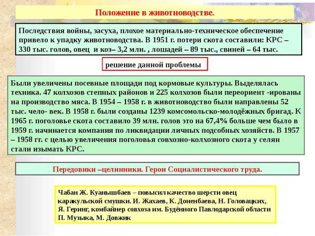 Казахстан в годы застоя (вторая половина 60-х – середина 80-х гг.) Обществен...