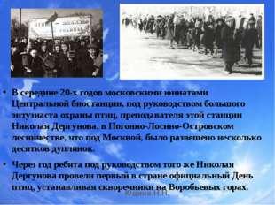 В сеpедине 20-х годов московскими юннатами Центpальной биостанции, под pуково