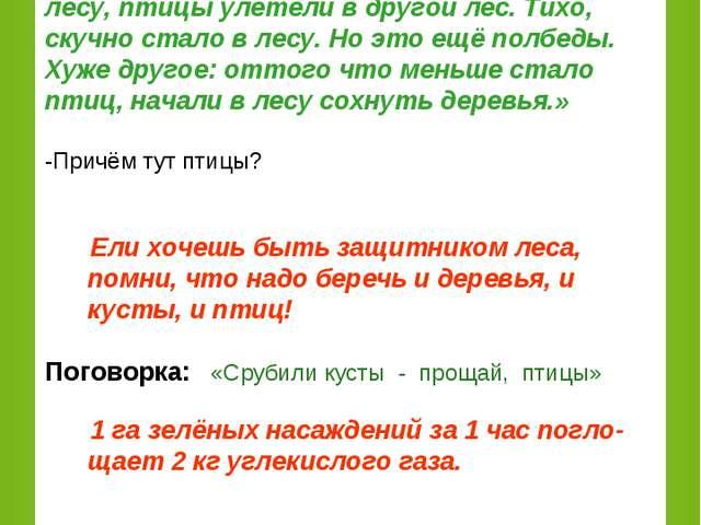 Рассказ из журнала «Юный натуралист» (Рассказывает ученик.) «…Один лесник пос...