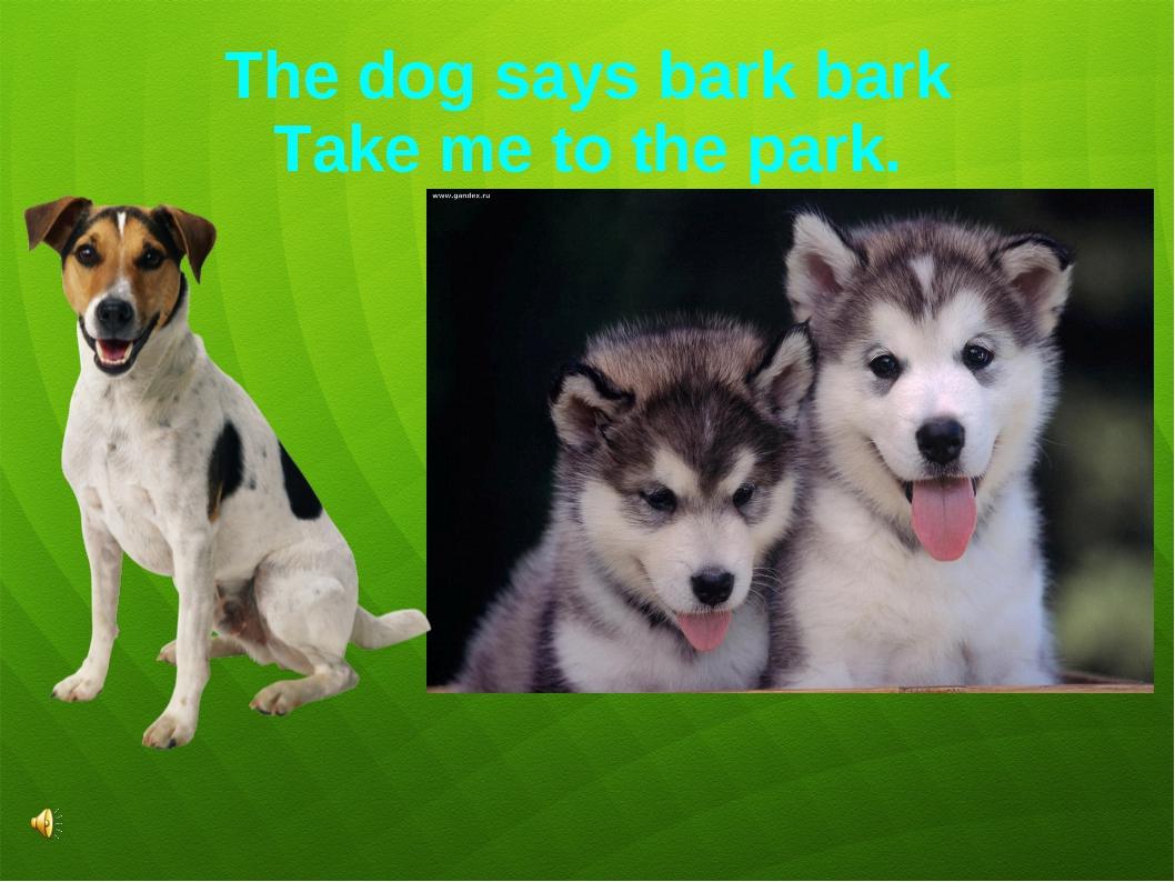 The dog says bark bark Take me to the park.