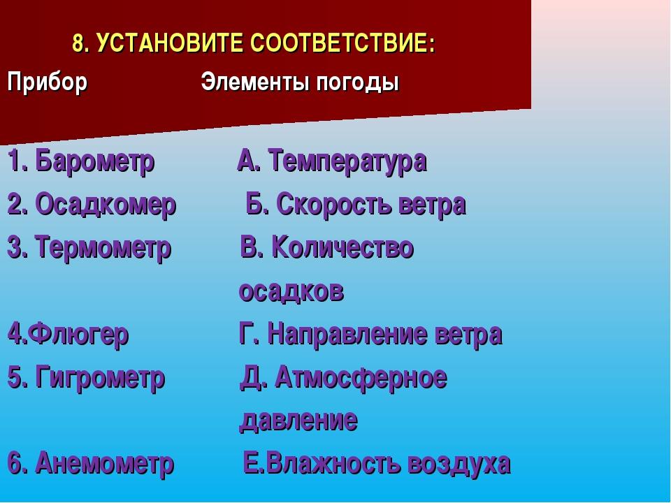 8. УСТАНОВИТЕ СООТВЕТСТВИЕ: Прибор Элементы погоды 1. Барометр А. Температур...