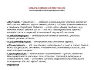 Модель построения мастерской (используется терминология группы ЖФЕН) «Индукц
