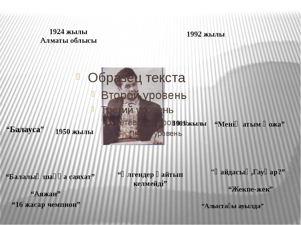 """1924 жылы Алматы облысы 1992 жылы 1950 жылы 1963 жылы """"Балауса"""" """"Менің атым..."""