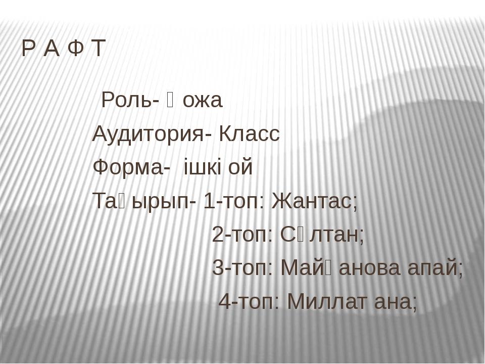 Р А Ф Т Роль- Қожа Аудитория- Класс Форма- ішкі ой Тақырып- 1-топ: Жантас; 2-...