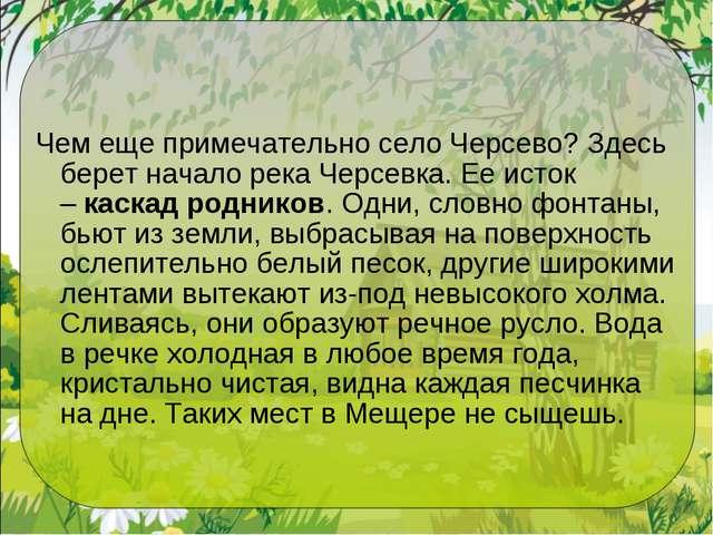 Чем еще примечательно село Черсево? Здесь берет начало река Черсевка. Ее исто...