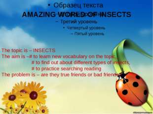 AMAZING WORLD OF INSECTS The topic is – INSECTS The aim is –# to learn new vo
