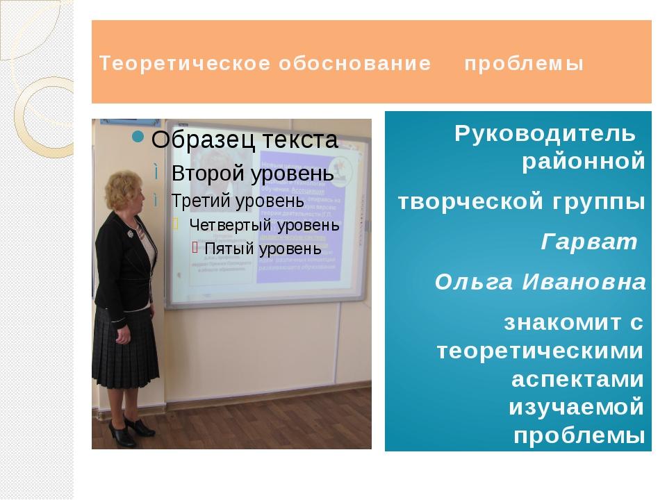 Теоретическое обоснование проблемы Руководитель районной творческой группы...